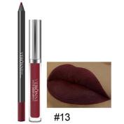 Prevently New Creative Long Lasting Lipstick Waterproof Velvet Matte Liquid Gloss Lip Liner Cosmetics Set