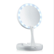 Sansee Make-up Mirror LED Collapsible Portable Cosmetic Vanity Mirror Retractable Make-up Mirror with Lights for Travel,Bathroom