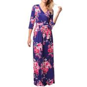 Plus Size Print Dress , Xinantime Women Half Sleeve Floral Long Dress
