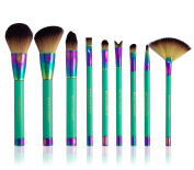 TZ COSMETIX - Professional 9 pcs Turquoise Colour Synthetic Makeup Brushes Foundation Powder Blush Eyeshadow Make Up Brushes Set with Green PU Case TZ-9LSS