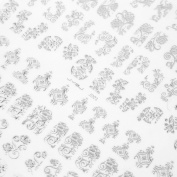 Ulable 108Pcs 3D Silver Flower Nail Art Stickers Decals Stamping DIY Decoration Tool