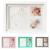 Baby Handprint, Footprint & Picture Frame Kit - Memories Keepsake - Baby Shower Gift for Boys & Girls - Clay and Wooden Photo Frame - Wall Mount and Table Stand Included