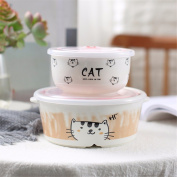 Ceramic fresh-keeping bowl lunch box separate ears sealed with lid bento boxes two-piece set,C