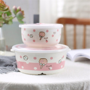Ceramic fresh-keeping bowl lunch box separate ears sealed with lid bento boxes two-piece set,A