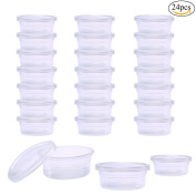 Pawaca Slime Storage Containers, 24 Pack Reusable Round Plastic Box with Lids for 20g Foam Ball, Soft Clay