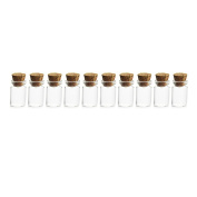 LoKauf 10Pcs 1ml Mini Glass Bottles Empty Jars with Cork Stoppers for DIY Craft Decoration 11*22mm