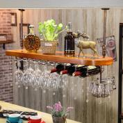 LIXIONG suspension Wine rack Multifunction Shelves Cup holder Bottles Holder Solid wood Display Shelves Hanging rod 30-60cm