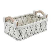 Felt Wooden Handle Portable Storage Basket Box , metres white