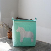 Cotton Waterproof Anti-dirty Foldable Clothing Storage Basket Snack Toy Storage Bucket , light green