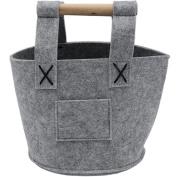 Felt Wooden Handle Portable Shopping Storage Basket