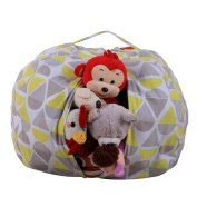 DIKEWANG Kids Stuffed Animal Plush Toy Storage Bean Bag Soft Pouch Stripe Fabric Chair,It Can Act As Cushion When Filled With Plush Toys,Clothing,Blankets,For Children Enjoy Storage Process