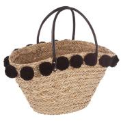 Wicker Shopping Basket with Pom Poms