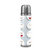 BENIGIRY Cartoon Expressions Pattern Print 500ml Double Walled Vacuum Insulated Stainless Steel Water Bottle Vacuum Flask Travel Mug Thermos Coffee Cup