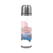 BENIGIRY Coloured Flamingo Pattern Print 500ml Double Walled Vacuum Insulated Stainless Steel Water Bottle Vacuum Flask Travel Mug Thermos Coffee Cup