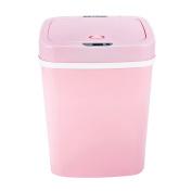 Pink plastic intelligent sensor trash can, creative living room kitchen waste recycling barrel