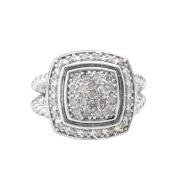 Malin + Mila Sterling Silver 1/2ct TDW Diamond Square Halo Ring
