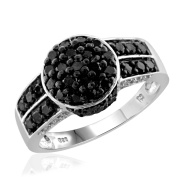 JewelonFire Sterling Silver 1ct TDW Black and White Diamond Round Shape Ring