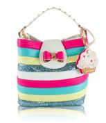 Betsey Johnson Candy Striper Bucket Shoulder Bag - Cream