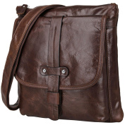 Berchirly Small Men Womens Real Leather Bag Purse Shoulder Sling Bag Coffee