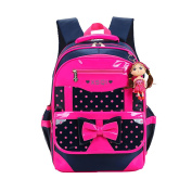SEXY_ROT Girls Cute Backpack Casul School Shoulder Bag with Girl Keychain
