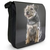 Border Terrier Dog Sitting Small Black Canvas Shoulder Bag / Handbag