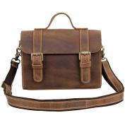Men's Leather Satchel Briefcase, Laptop Messenger Shoulder Bag Tote Brown