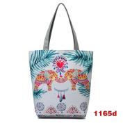 Espeedy Animal Printed Canvas Tote Women Single Shopping Bags Large Capacity Beach Bags