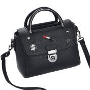 Flada Girl's Shoulder Bag PU Leather Handbags Lipstick Fashion Cross-body bag Tote Bags Black