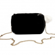 Espeedy Women Faux Rabbit Fur Chain Shoulder Bag Handbag Hairball Crossbody Phone Purses Bag