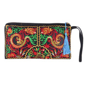 Women's Retro Ethnic Embroider Purse Wallet Clutch Card Coin Holder Phone Bag