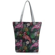 Espeedy Women Canvas Printed Shopping Bag Floral Animal Tote Large Capacity Beach Bags