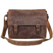 Retro Crazy Leather Messenger Shoulder Bag Travel Tote Laptop Bag Dark Brown