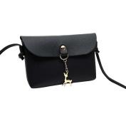 Shoulder Bag, Fcostume Women's Vintage Small Deer Pendant Leather Crossbody