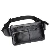 BISON DENIM Brown Genuine Leather Waist Bag Messenger Fanny Pack Bum Bag