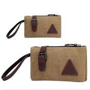 Yiwa Zipper Canvas Clutch Bag with Retro Belt Decoration Wrist Handbags for Men