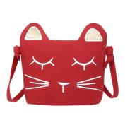 Domybest Kids Small Crossbody Bag Lovely Cartoon Cat Smile Print Shoulder Bag Princess Bag