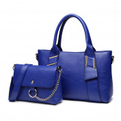 Miss Lulu 2pcs Top Handle and Pouch Set Pu Leather Leisure Handbag For Woman Navy