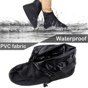 IClover 360 Degree Waterproof Rainproof PVC Fabric Zippered Shoe Covers Rain Boots Overshoes Protector Bike Motorcycle Anti-Slip Travel Women Men Kids Short Black XXL Size Sole Length:32cm /US 12