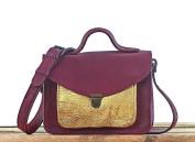 MADEMOISELLE GEORGE Plum / Gold Mini Satchel vintage style PAUL MARIUS