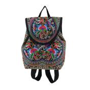AllRight Women Ethnic Tribal Embroidery Flower Backpack Handmade Travel Rucksack Bag