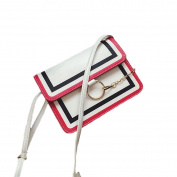 OURBAG Women Fashion Messenger Satchel Handbag Ring Chain Shoulder Bag White
