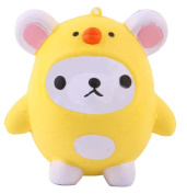 HKFV Creative Soft Toys Finger Toys Stress Relief Slow Rising Cute Yellow Chicken Toys Squishy Kawaii Cute Bear Jumbo Slow Rising Squeeze Toy Collection Cure Gift