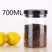 Transparent Coffee jar sealed Coffee cans Coffee container Coffee cans Storage tank coffee beans [powder] Nuts Cocoa Black vacuum tank700Ml-A