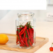 Glass cover Airtight Transparent Kitchen Food Grains Storage box Tea storage tank Honey Lemon bottle-M