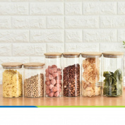 Transparent sealed tank Glass-sealed cans Storage tank Food Dried fruit Grains [storage jar] Jar The caddy Storage bottle-N