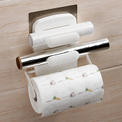 L Cling Film Storage Rack Seamless Wall-hung Fresh-keeping Bag Roll Paper Racks Kitchen Supplies