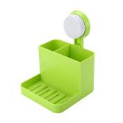 Kicode Bathroom Plastic Sucker Toothbrush Tooth Paste Stand Holder Storage Rack Box