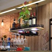 LIXIONG suspension Wine rack Bottles Holder With lights Multifunction Solid wood goblet Display Shelves
