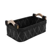 Felt Wooden Handle Portable Storage Basket Box , black grey