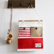 Wall-mounted Canvas Pouch Key Storage Bag , red stripes